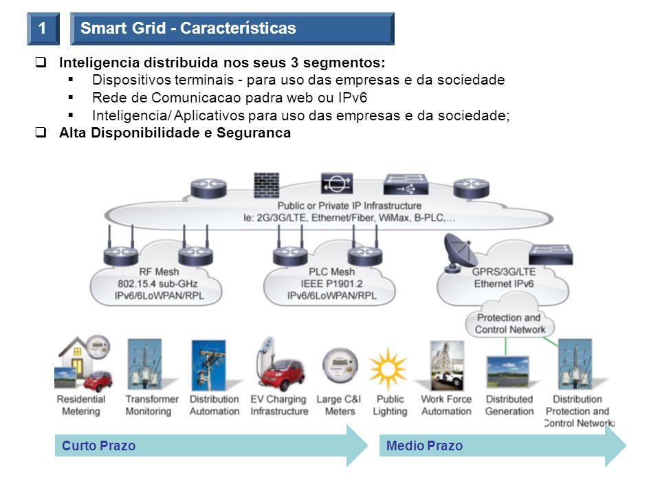 Smart Grid - Características1 Inteligencia distribuida nos seus 3 segmentos: Dispositivos terminais - para uso das empresas e da sociedade Rede de Com