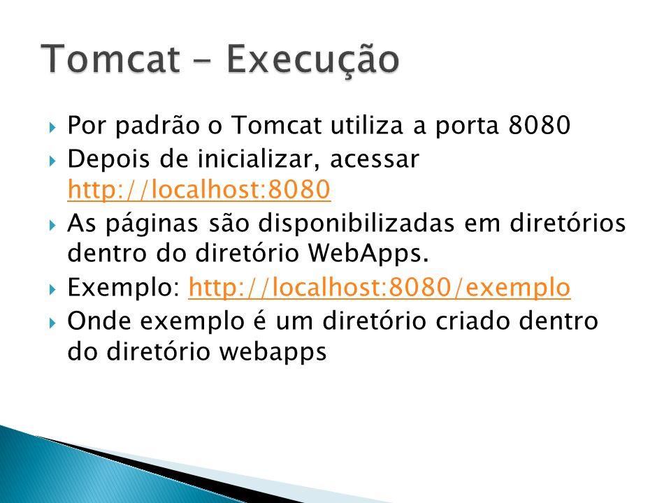Por padrão o Tomcat utiliza a porta 8080 Depois de inicializar, acessar http://localhost:8080 http://localhost:8080 As páginas são disponibilizadas em