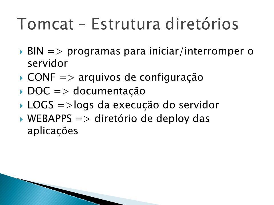 BIN => programas para iniciar/interromper o servidor CONF => arquivos de configuração DOC => documentação LOGS =>logs da execução do servidor WEBAPPS