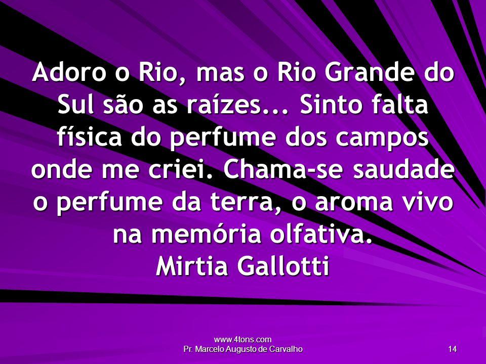 www.4tons.com Pr. Marcelo Augusto de Carvalho 14 Adoro o Rio, mas o Rio Grande do Sul são as raízes... Sinto falta física do perfume dos campos onde m