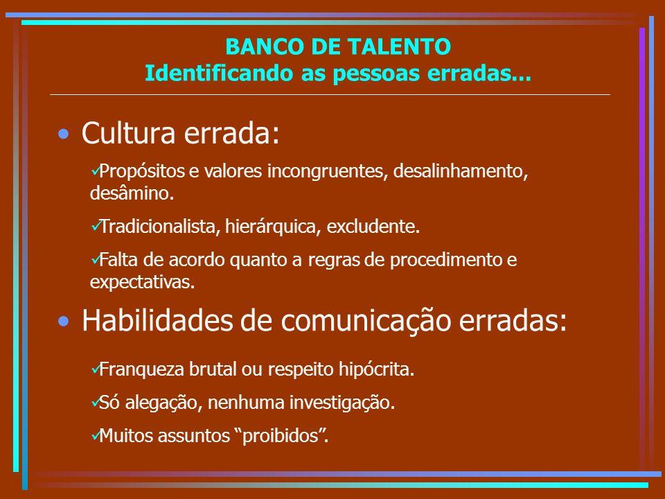 BANCO DE TALENTO Identificando as pessoas erradas... Cultura errada: Propósitos e valores incongruentes, desalinhamento, desâmino. Tradicionalista, hi