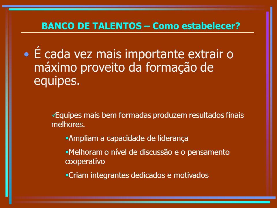 BANCO DE TALENTOS – Como estabelecer? É cada vez mais importante extrair o máximo proveito da formação de equipes. Equipes mais bem formadas produzem