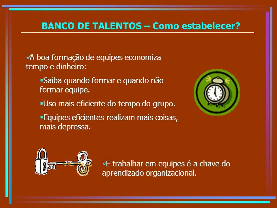 BANCO DE TALENTOS – Como estabelecer? A boa formação de equipes economiza tempo e dinheiro: Saiba quando formar e quando não formar equipe. Uso mais e