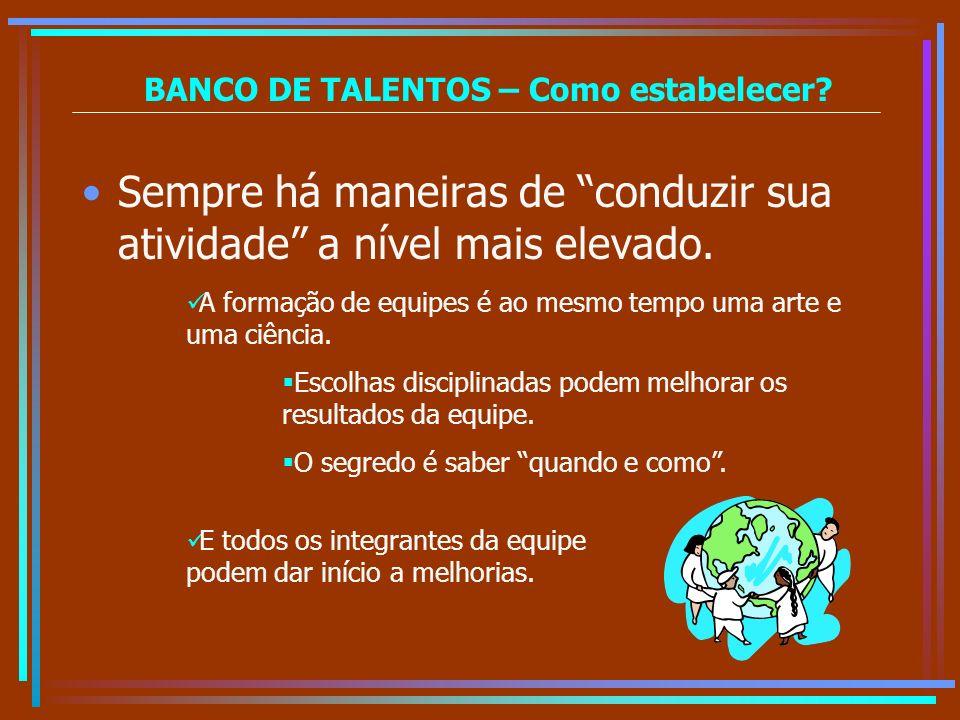 BANCO DE TALENTOS – Como estabelecer? Sempre há maneiras de conduzir sua atividade a nível mais elevado. A formação de equipes é ao mesmo tempo uma ar