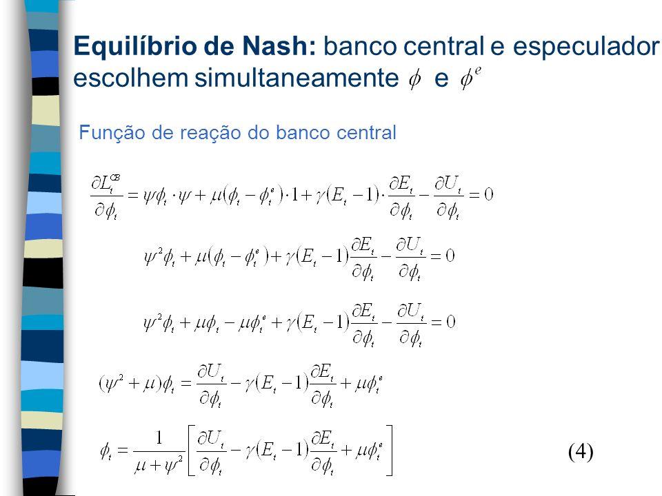Função de reação do banco central (4) Equilíbrio de Nash: banco central e especulador escolhem simultaneamente e