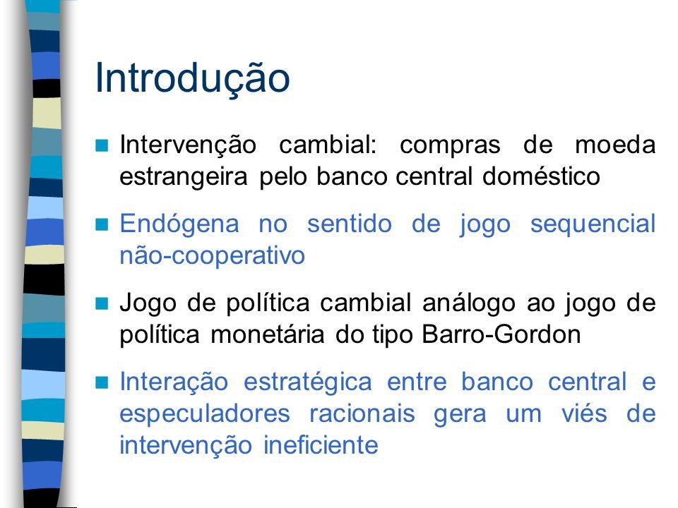 Introdução Intervenção cambial: compras de moeda estrangeira pelo banco central doméstico Endógena no sentido de jogo sequencial não-cooperativo Jogo