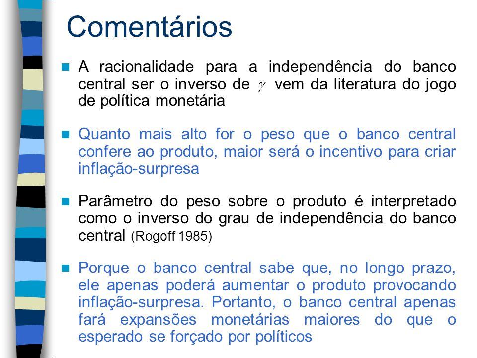 Comentários Quanto mais alto for o peso que o banco central confere ao produto, maior será o incentivo para criar inflação-surpresa Parâmetro do peso