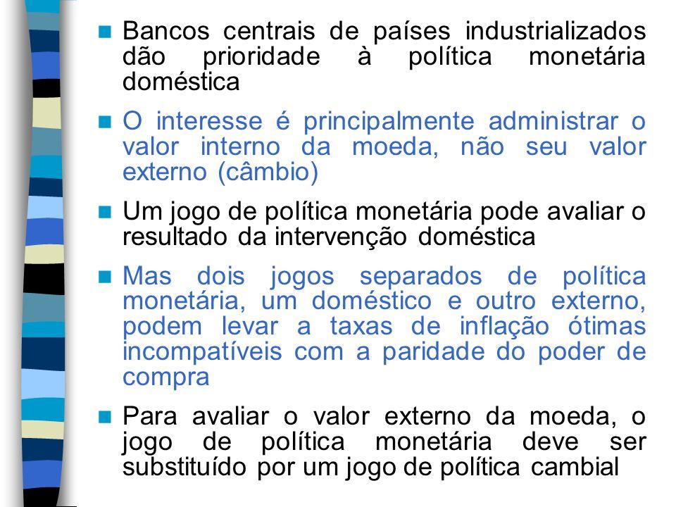 Bancos centrais de países industrializados dão prioridade à política monetária doméstica O interesse é principalmente administrar o valor interno da m
