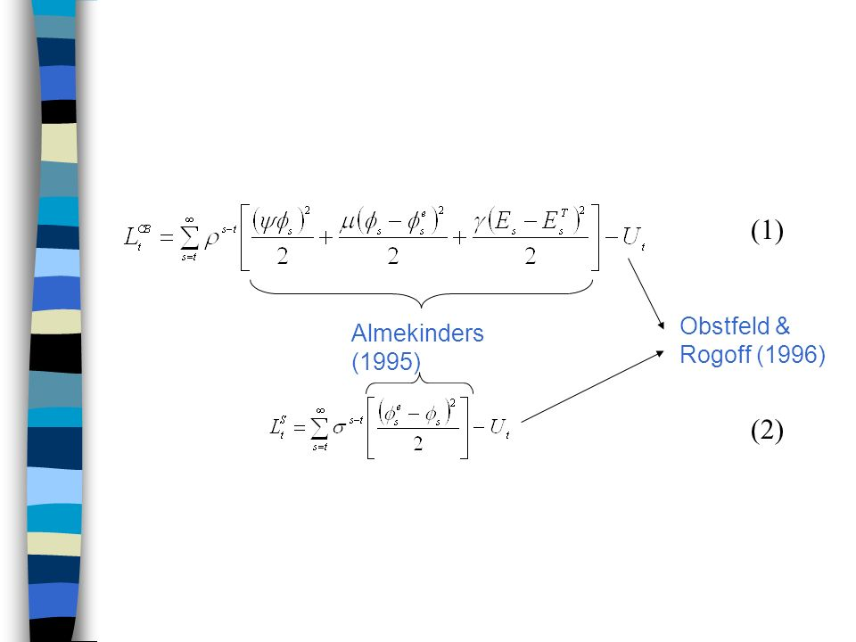 (1) (2) Almekinders (1995) Obstfeld & Rogoff (1996)