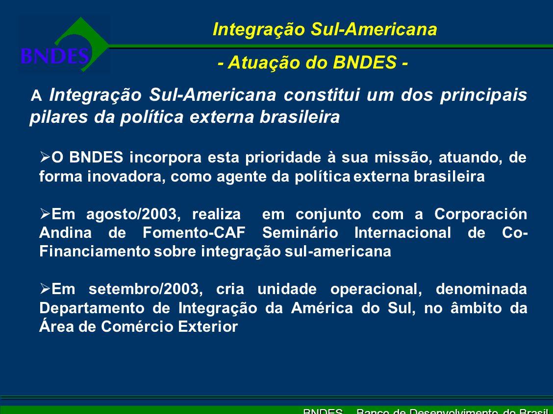 BNDES – Banco de Desenvolvimento do Brasil Integração Sul-Americana - Atuação do BNDES - A Integração Sul-Americana constitui um dos principais pilares da política externa brasileira O BNDES incorpora esta prioridade à sua missão, atuando, de forma inovadora, como agente da política externa brasileira Em agosto/2003, realiza em conjunto com a Corporación Andina de Fomento-CAF Seminário Internacional de Co- Financiamento sobre integração sul-americana Em setembro/2003, cria unidade operacional, denominada Departamento de Integração da América do Sul, no âmbito da Área de Comércio Exterior