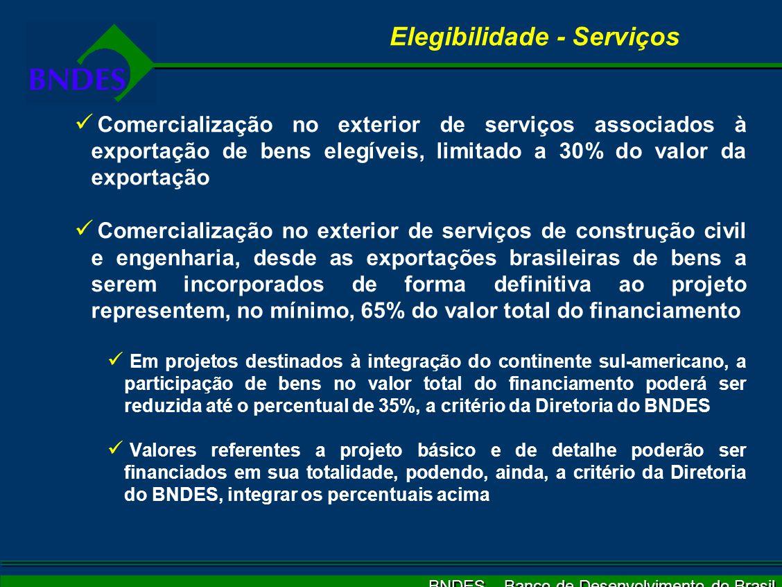 BNDES – Banco de Desenvolvimento do Brasil Elegibilidade - Serviços Comercialização no exterior de serviços associados à exportação de bens elegíveis,