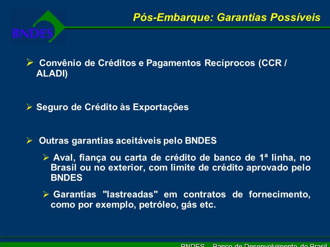 BNDES – Banco de Desenvolvimento do Brasil Pós-Embarque: Garantias Possíveis Convênio de Créditos e Pagamentos Recíprocos (CCR / ALADI) Seguro de Crédito às Exportações Outras garantias aceitáveis pelo BNDES Aval, fiança ou carta de crédito de banco de 1ª linha, no Brasil ou no exterior, com limite de crédito aprovado pelo BNDES Garantias lastreadas em contratos de fornecimento, como por exemplo, petróleo, gás etc.