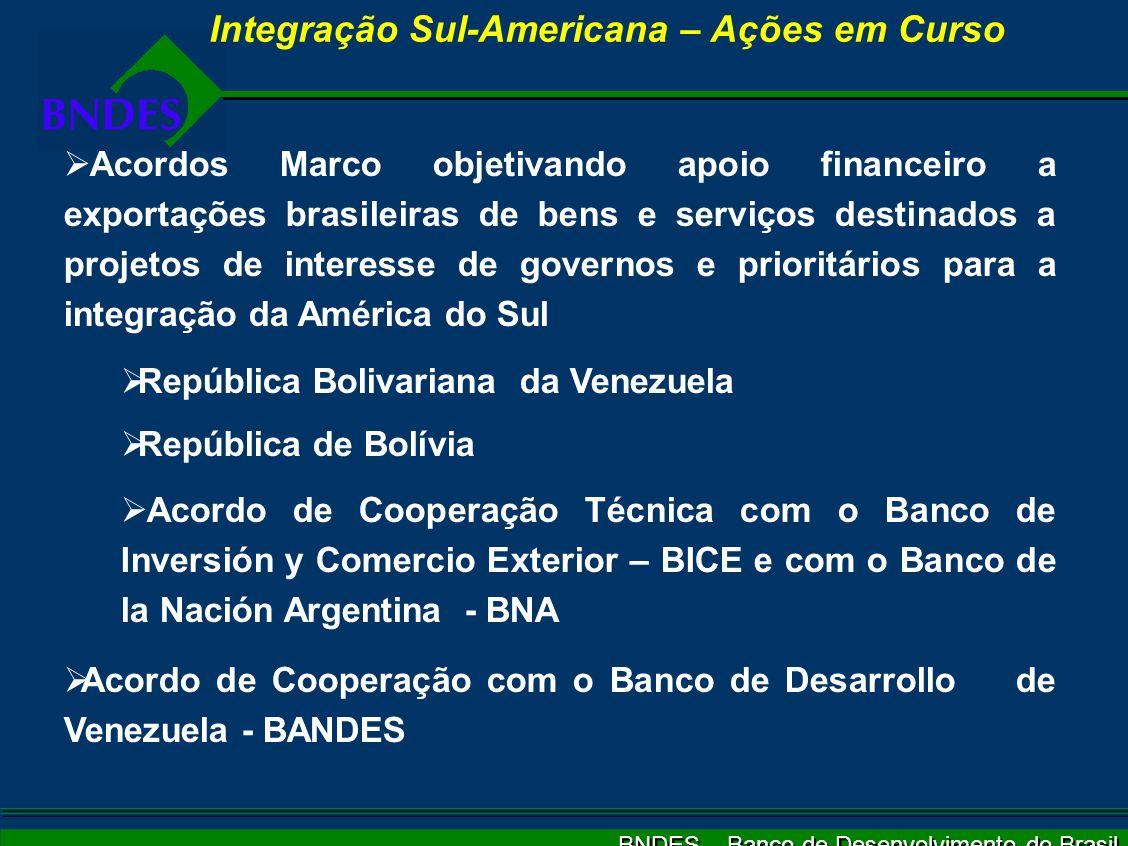 BNDES – Banco de Desenvolvimento do Brasil Integração Sul-Americana – Ações em Curso Acordos Marco objetivando apoio financeiro a exportações brasileiras de bens e serviços destinados a projetos de interesse de governos e prioritários para a integração da América do Sul República Bolivariana da Venezuela República de Bolívia Acordo de Cooperação Técnica com o Banco de Inversión y Comercio Exterior – BICE e com o Banco de la Nación Argentina - BNA Acordo de Cooperação com o Banco de Desarrollo de Venezuela - BANDES