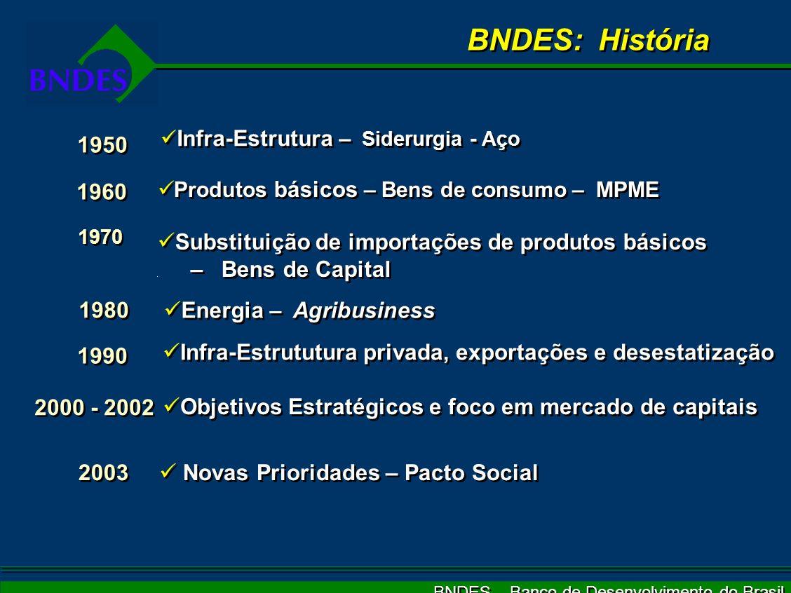 BNDES – Banco de Desenvolvimento do Brasil Novas Prioridades – Pacto Social 1950 1960 1970 1980 1990 2000 - 2002 2003 Infra-Estrutura – Siderurgia - A