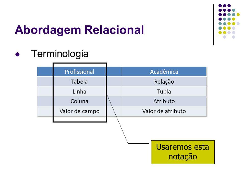 Abordagem Relacional Usaremos esta notação Terminologia