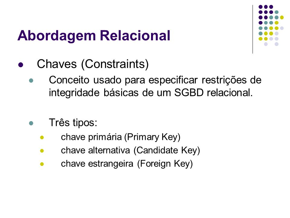 Abordagem Relacional Chaves (Constraints) Conceito usado para especificar restrições de integridade básicas de um SGBD relacional. Três tipos: chave p