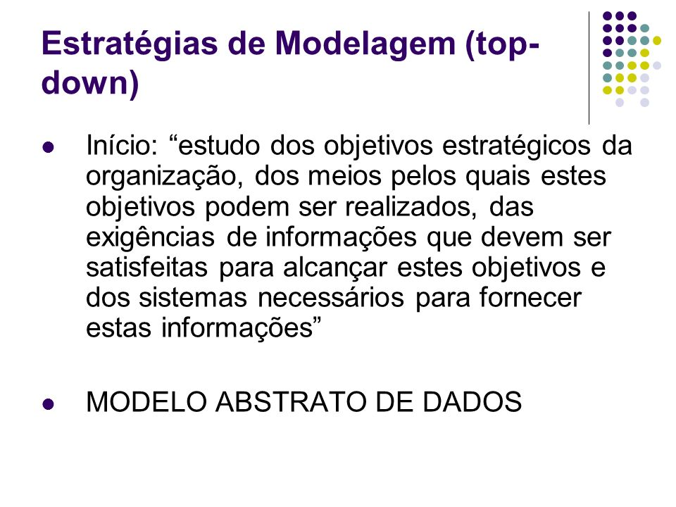 Estratégias de Modelagem (top- down) Início: estudo dos objetivos estratégicos da organização, dos meios pelos quais estes objetivos podem ser realiza