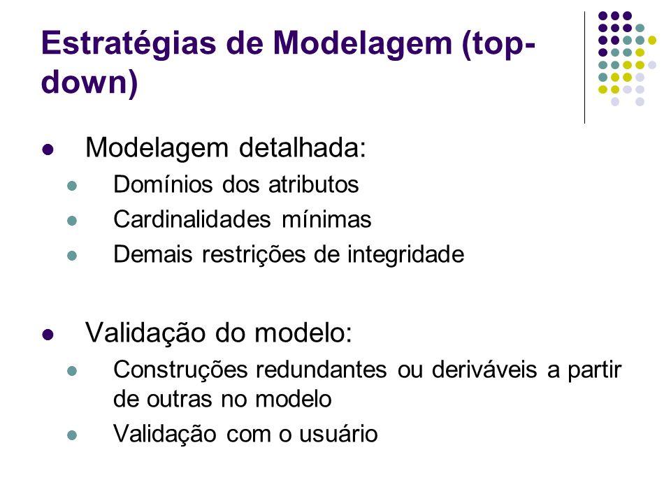 Estratégias de Modelagem (top- down) Modelagem detalhada: Domínios dos atributos Cardinalidades mínimas Demais restrições de integridade Validação do