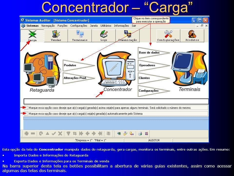 Esta opção da tela do Concentrador manipula dados do retaguarda, gera cargas, monitora os terminais, entre outras ações.