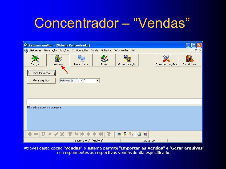 Através desta opção Vendas o sistema permite Importar as Vendas e Gerar arquivos correspondentes às respectivas vendas do dia especificado.