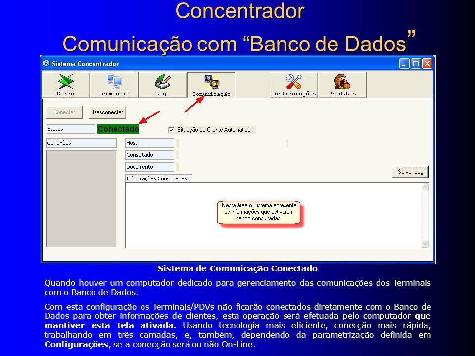 Sistema de Comunicação Conectado Quando houver um computador dedicado para gerenciamento das comunicações dos Terminais com o Banco de Dados.
