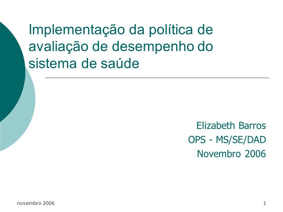 novembro 20061 Implementação da política de avaliação de desempenho do sistema de saúde Elizabeth Barros OPS - MS/SE/DAD Novembro 2006