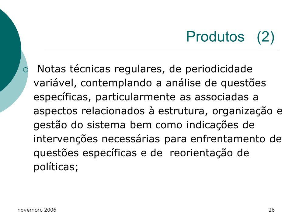 novembro 200627 Produtos (3) Estudos pontuais para caracterização ou qualificação de condições ou situações não apreendidas pelos sistemas regulares de produção de informações do SUS;