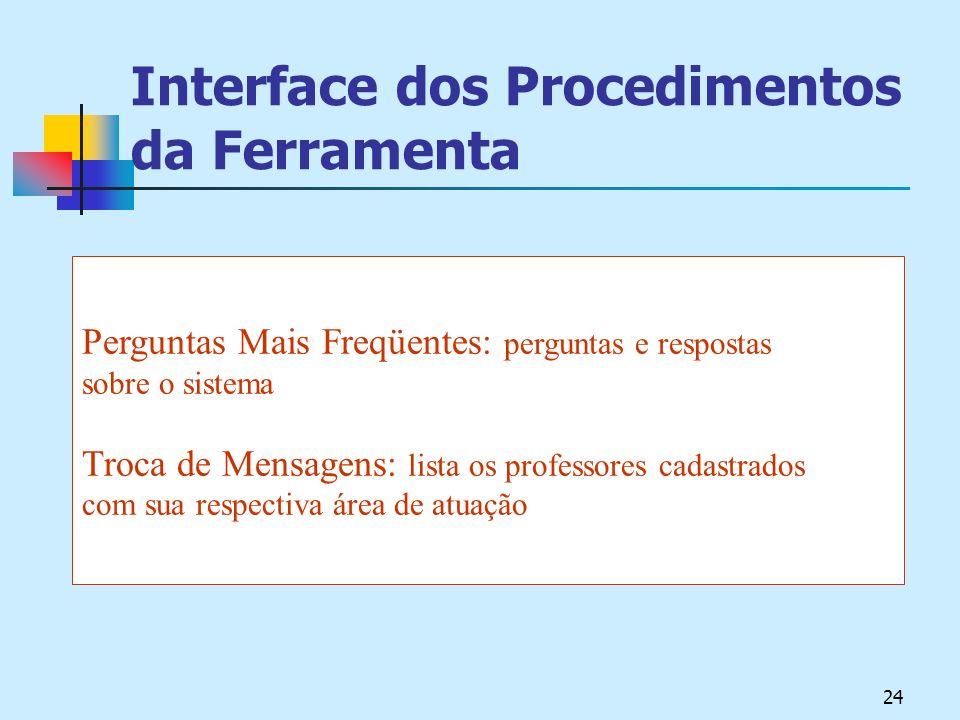 24 Interface dos Procedimentos da Ferramenta Perguntas Mais Freqüentes: perguntas e respostas sobre o sistema Troca de Mensagens: lista os professores cadastrados com sua respectiva área de atuação