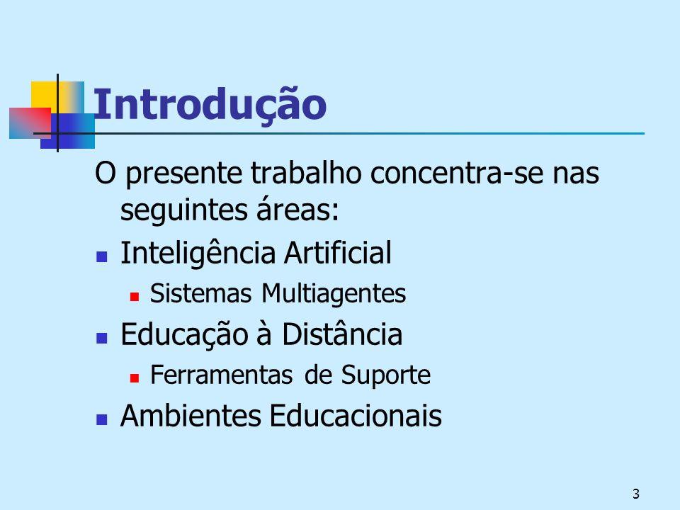3 Introdução O presente trabalho concentra-se nas seguintes áreas: Inteligência Artificial Sistemas Multiagentes Educação à Distância Ferramentas de Suporte Ambientes Educacionais