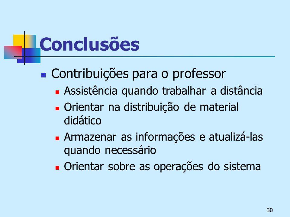 30 Conclusões Contribuições para o professor Assistência quando trabalhar a distância Orientar na distribuição de material didático Armazenar as informações e atualizá-las quando necessário Orientar sobre as operações do sistema