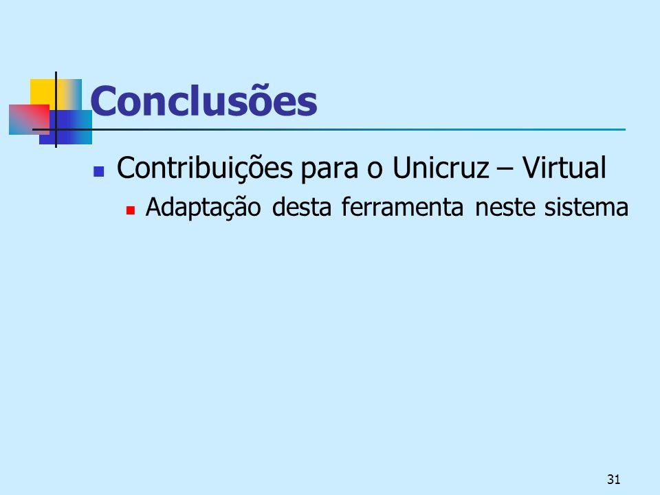 31 Conclusões Contribuições para o Unicruz – Virtual Adaptação desta ferramenta neste sistema