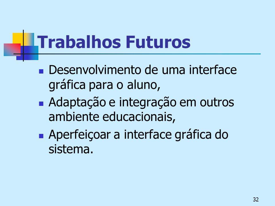 32 Trabalhos Futuros Desenvolvimento de uma interface gráfica para o aluno, Adaptação e integração em outros ambiente educacionais, Aperfeiçoar a interface gráfica do sistema.