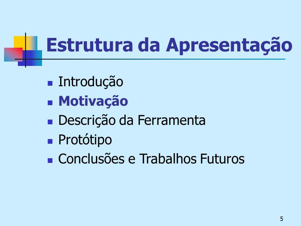 5 Estrutura da Apresentação Introdução Motivação Descrição da Ferramenta Protótipo Conclusões e Trabalhos Futuros