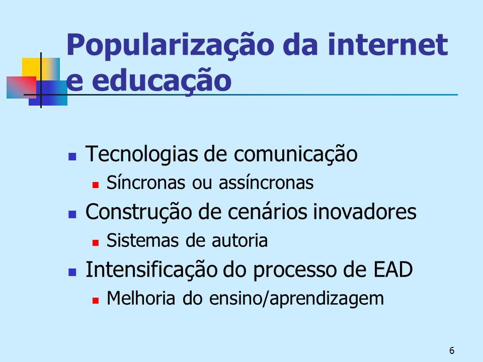 6 Popularização da internet e educação Tecnologias de comunicação Síncronas ou assíncronas Construção de cenários inovadores Sistemas de autoria Intensificação do processo de EAD Melhoria do ensino/aprendizagem
