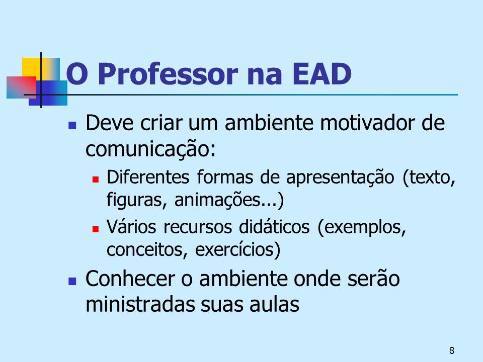 8 O Professor na EAD Deve criar um ambiente motivador de comunicação: Diferentes formas de apresentação (texto, figuras, animações...) Vários recursos didáticos (exemplos, conceitos, exercícios) Conhecer o ambiente onde serão ministradas suas aulas