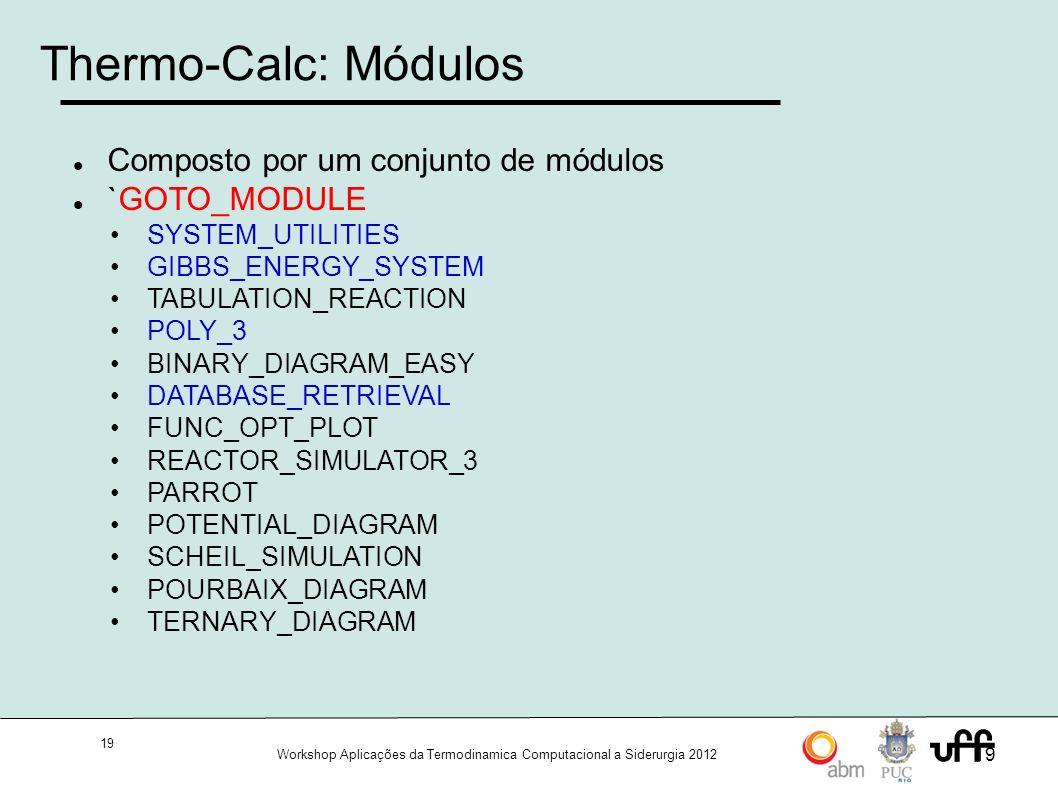 19 Workshop Aplicações da Termodinamica Computacional a Siderurgia 2012 19 Thermo-Calc: Módulos Composto por um conjunto de módulos `GOTO_MODULE SYSTEM_UTILITIES GIBBS_ENERGY_SYSTEM TABULATION_REACTION POLY_3 BINARY_DIAGRAM_EASY DATABASE_RETRIEVAL FUNC_OPT_PLOT REACTOR_SIMULATOR_3 PARROT POTENTIAL_DIAGRAM SCHEIL_SIMULATION POURBAIX_DIAGRAM TERNARY_DIAGRAM