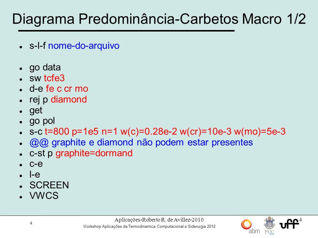 15 Workshop Aplicações da Termodinamica Computacional a Siderurgia 2012 15 Dictra/Thermo-Calc: Database_retrieval AMEND_SELECTION APPEND_DATABASE BACK DATABASE_INFORMATION DEFINE_ELEMENTS DEFINE_SPECIES DEFINE_SYSTEM EXIT GET_DATA GOTO_MODULE HELP INFORMATION LIST_DATABASE LIST_SYSTEM NEW_DIRECTORY_FILE REJECT RESTORE SET_AUTO_APPEND_DATABASE SWITCH_DATABASE Módulo de definição do banco de dados, escolha dos elementos, das fases ou compostos, das espécies.