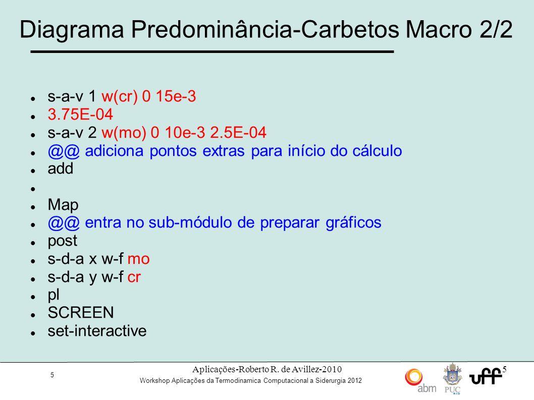 26 Workshop Aplicações da Termodinamica Computacional a Siderurgia 2012 Macro para o Experimento de Darken s-m-f nome_do_arquivo sw ssol def-sp fe si c rej ph * res ph fcc get append mob2 def-sp fe si c rej ph * res ph fcc get go dic s-cond global T 0 1323; * N enter-region aus enter-grid aus 50e-3 double 50 0.9 1.11 enter-phase active aus matrix fcc#1 enter-composition aus fcc#1 FE w-p C func 0.49-0.04*HS(X-25E-3); SI func 3.80-3.75*HS(X-25E-3); set-simulation-time 1e10 save nome_do_arquivo simulate
