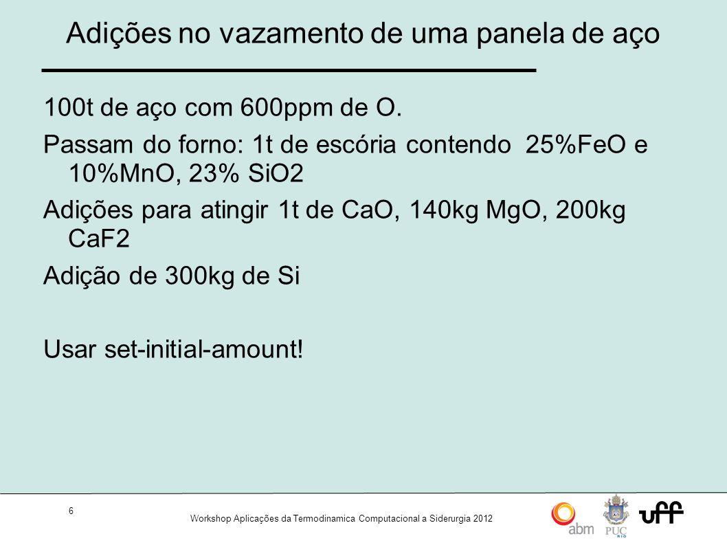 17 Workshop Aplicações da Termodinamica Computacional a Siderurgia 2012 17 Dictra: Comandos iniciais 2/2 TDB_TCFE3>append-database MOB2 (app mob2) TDB_SSOL>define-elements (d-e) TDB_SSOL>list-system (l-s) ELEMENTS, SPECIES, PHASES, CONSTITUENTS TDB_SSOL>reject (rej) TDB_SSOL>restore (res) TDB_SSOL>get-data (get) TDB_SSOL>goto-module dictra (go dic)