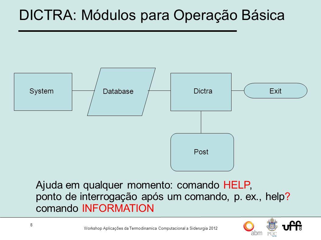 9 Workshop Aplicações da Termodinamica Computacional a Siderurgia 2012 9 Dictra/Thermo-Calc: System BACK CLOSE_FILE EXIT GOTO_MODULE HELP HP_CALCULATOR INFORMATION LIST_FREE_WORKSPACE MACRO_FILE_OPEN NEWS OPEN_FILE PATCH SET_COMMAND_UNITS SET_ERROR_MESSAGE_UNIT SET_INTERACTIVE_MODE SET_LOG_FILE SET_PLOT_ENVIRONMENT SET_TERMINAL STOP_ON_ERROR TRACE Módulo inicial.
