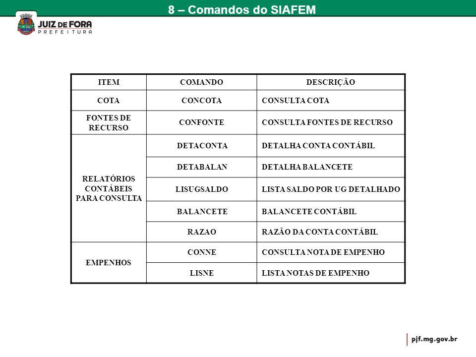 ITEMCOMANDODESCRIÇÃO COTACONCOTACONSULTA COTA FONTES DE RECURSO CONFONTECONSULTA FONTES DE RECURSO RELATÓRIOS CONTÁBEIS PARA CONSULTA DETACONTADETALHA