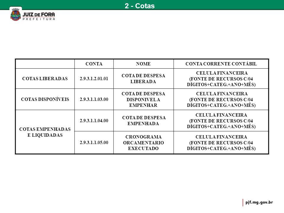 CONTANOMECONTA CORRENTE CONTÁBIL COTAS LIBERADAS2.9.3.1.2.01.01 COTA DE DESPESA LIBERADA CELULA FINANCEIRA (FONTE DE RECURSOS C/04 DÍGITOS+CATEG.+ANO+