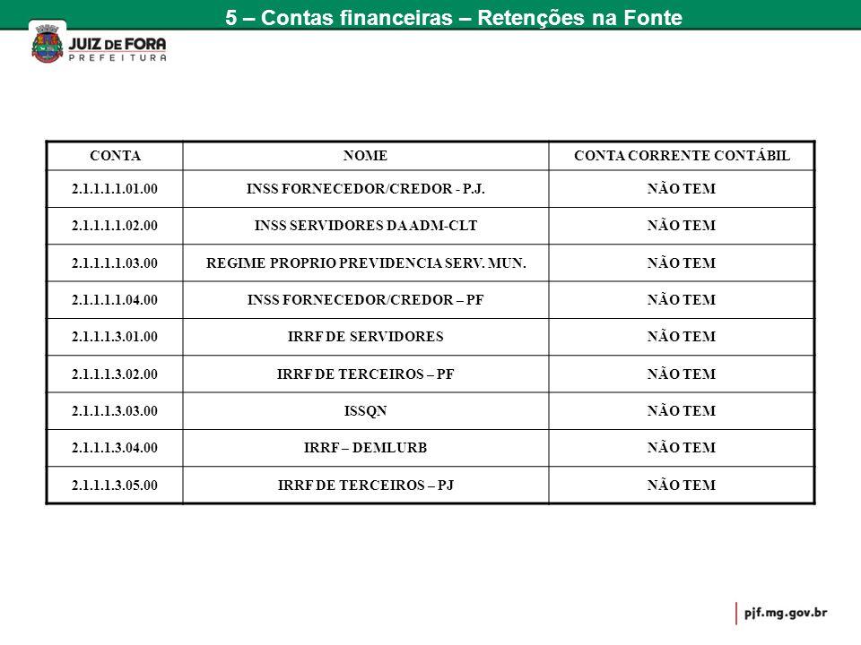 CONTANOMECONTA CORRENTE CONTÁBIL 2.1.1.1.1.01.00INSS FORNECEDOR/CREDOR - P.J.NÃO TEM 2.1.1.1.1.02.00INSS SERVIDORES DA ADM-CLTNÃO TEM 2.1.1.1.1.03.00R