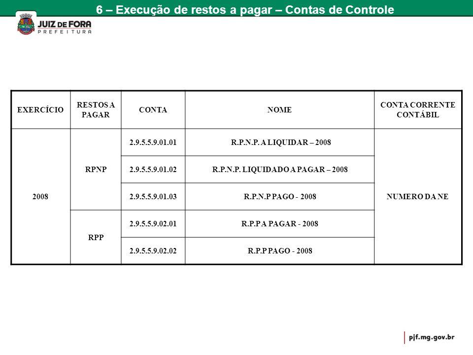 EXERCÍCIO RESTOS A PAGAR CONTANOME CONTA CORRENTE CONTÁBIL 2008 RPNP 2.9.5.5.9.01.01 R.P.N.P. A LIQUIDAR – 2008 NUMERO DA NE 2.9.5.5.9.01.02R.P.N.P. L