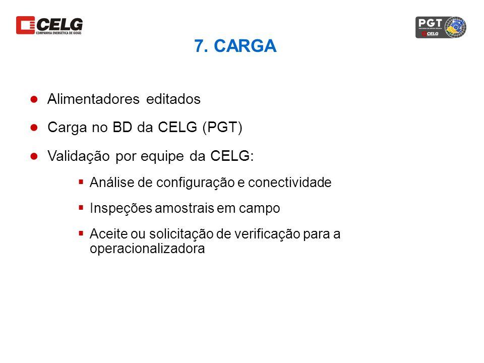 7. CARGA Alimentadores editados Carga no BD da CELG (PGT) Validação por equipe da CELG: Análise de configuração e conectividade Inspeções amostrais em