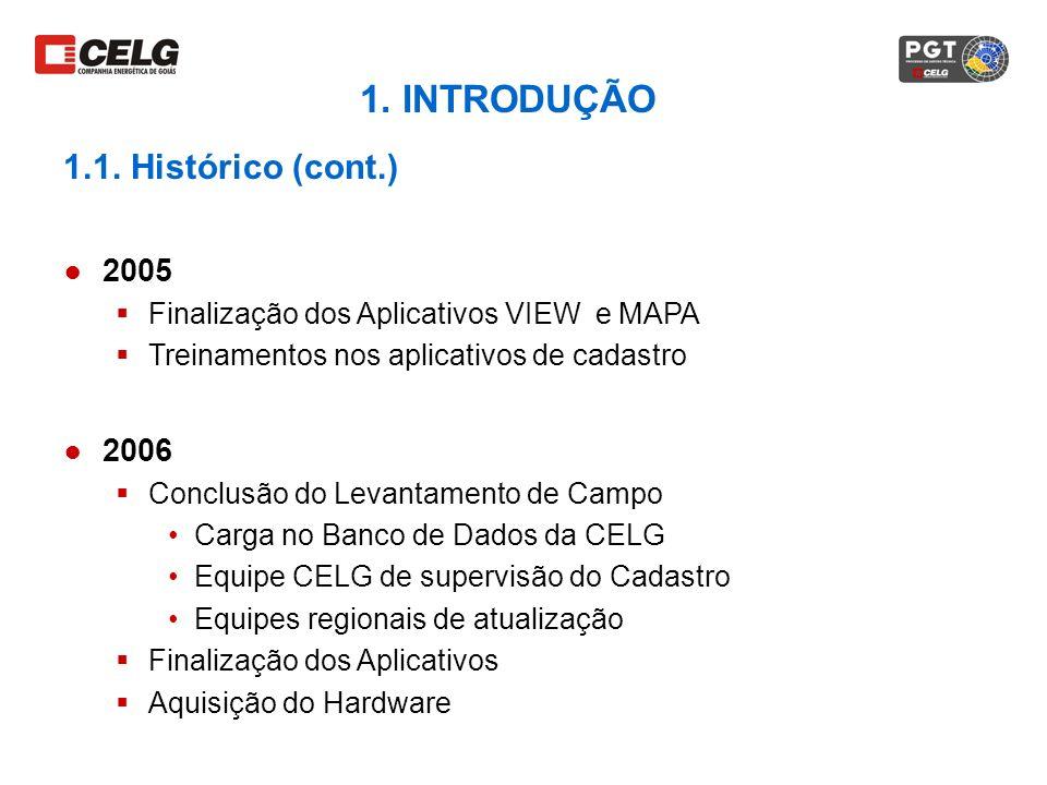 2005 Finalização dos Aplicativos VIEW e MAPA Treinamentos nos aplicativos de cadastro 2006 Conclusão do Levantamento de Campo Carga no Banco de Dados