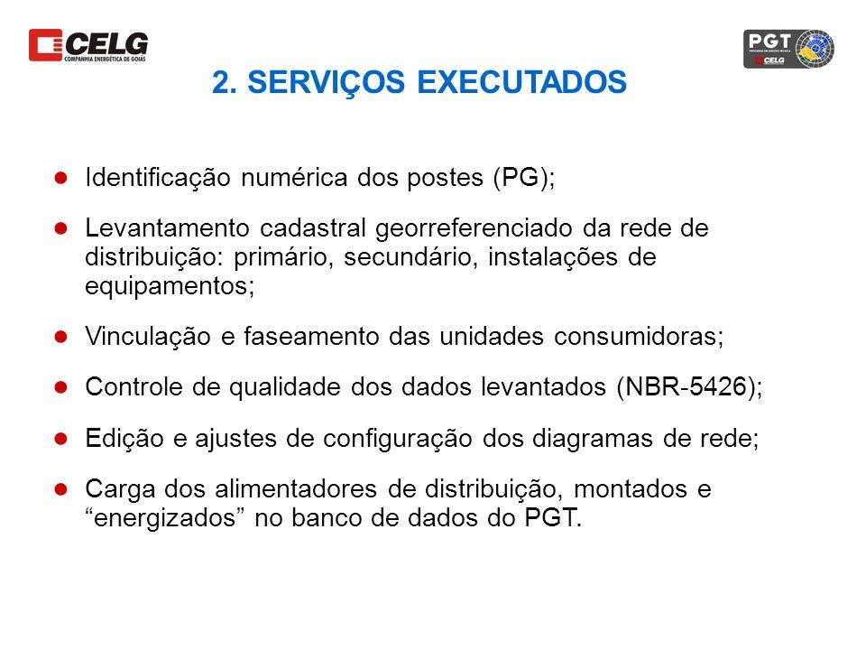 2. SERVIÇOS EXECUTADOS Identificação numérica dos postes (PG); Levantamento cadastral georreferenciado da rede de distribuição: primário, secundário,