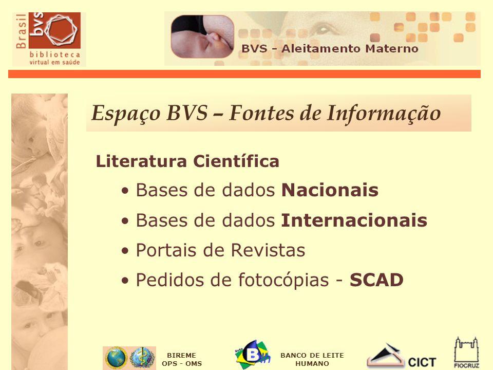 BIREME OPS - OMS BANCO DE LEITE HUMANO Espaço BVS – Fontes de Informação Literatura Científica Bases de dados Nacionais Bases de dados Internacionais