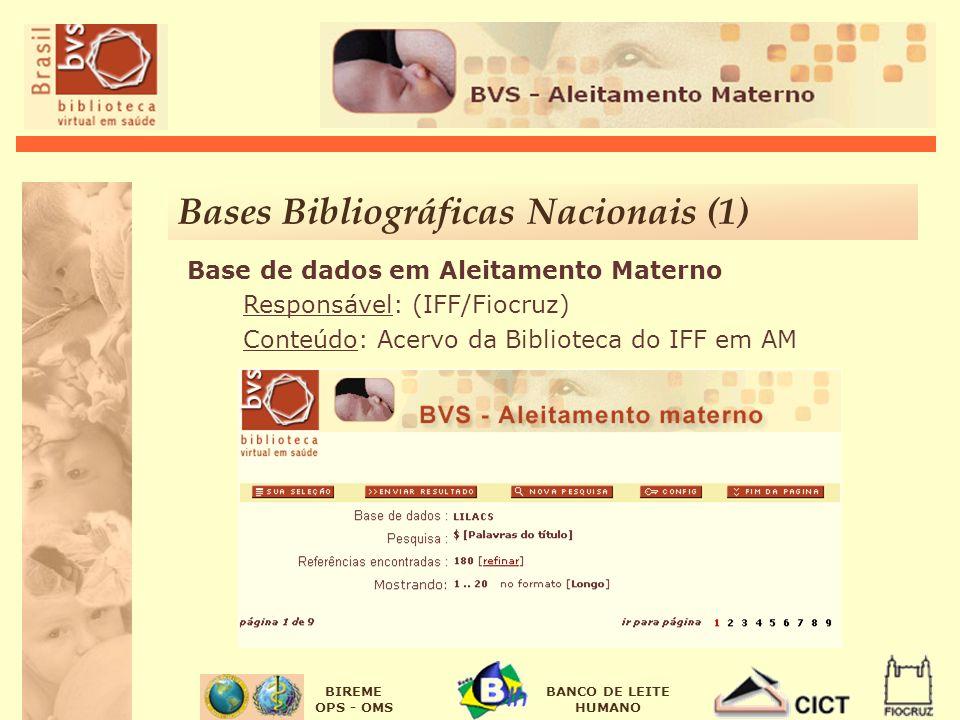 BIREME OPS - OMS BANCO DE LEITE HUMANO Base de dados em Aleitamento Materno Responsável: (IFF/Fiocruz) Conteúdo: Acervo da Biblioteca do IFF em AM Bases Bibliográficas Nacionais (1)