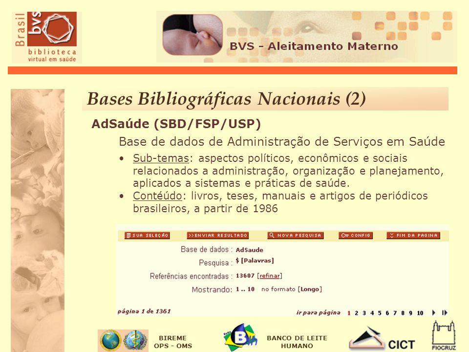BIREME OPS - OMS BANCO DE LEITE HUMANO AdSaúde (SBD/FSP/USP) Base de dados de Administração de Serviços em Saúde Sub-temas: aspectos políticos, econôm